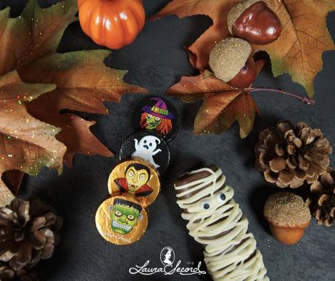 Flat lay de feuilles d'automne, citrouille et friandises de l'Halloween | Laura Secord