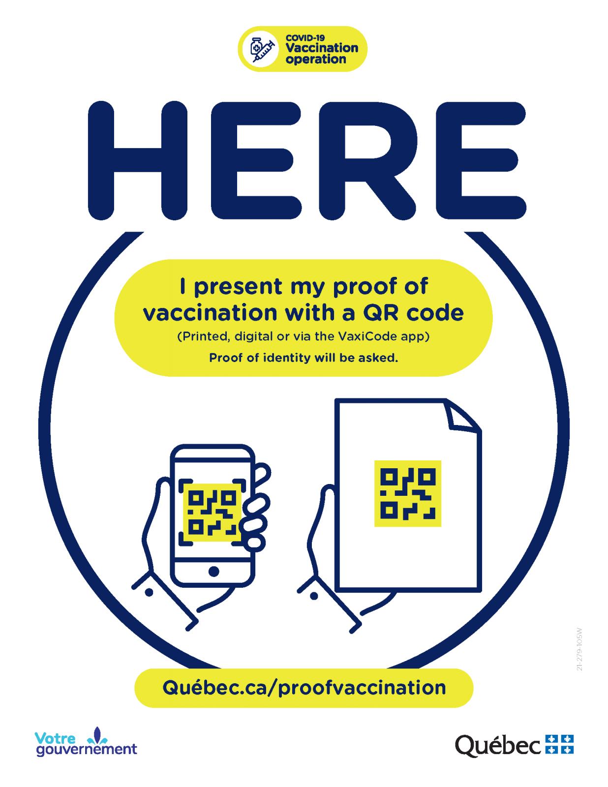 Affiche preuve de vaccination - Gouvernement du Québec